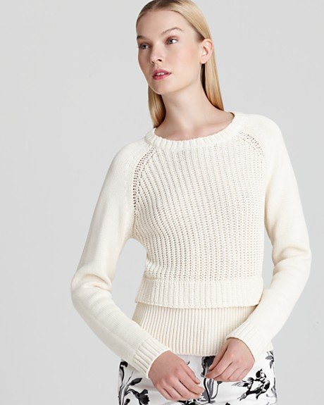 A perforated knit makes for a much sportier upgrade on the basic styles. Tibi Sweater Long Sleeve ($220)
