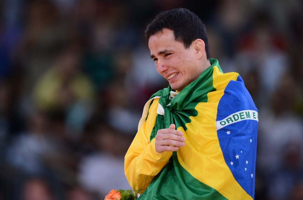 Brazil's bronze medalist judo player Felipe Kitadai cried on the medal podium.