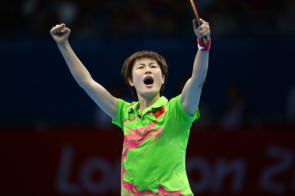 Ning Ding of China shouted during the women's singles table tennis semifinal match against Tianwei Feng of Singapore on day four.