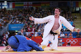 Antoine Valois-Fortier of Canada reacted to defeating Travis Stevens of the United States in Judo.