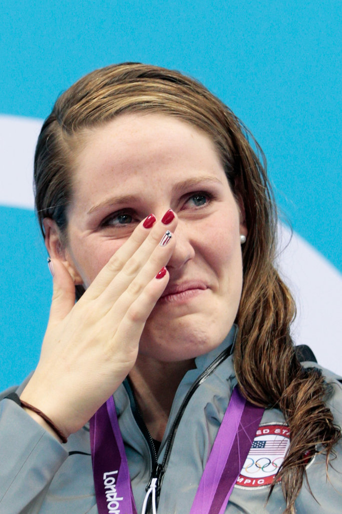 US swimmer and gold medalist Missy Franklin cried during the medal ceremony for the women's 100m backstroke.