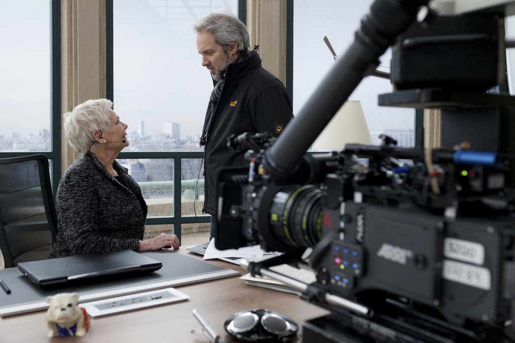 Behind the scenes of Skyfall with Judi Dench and director Sam Mendes.