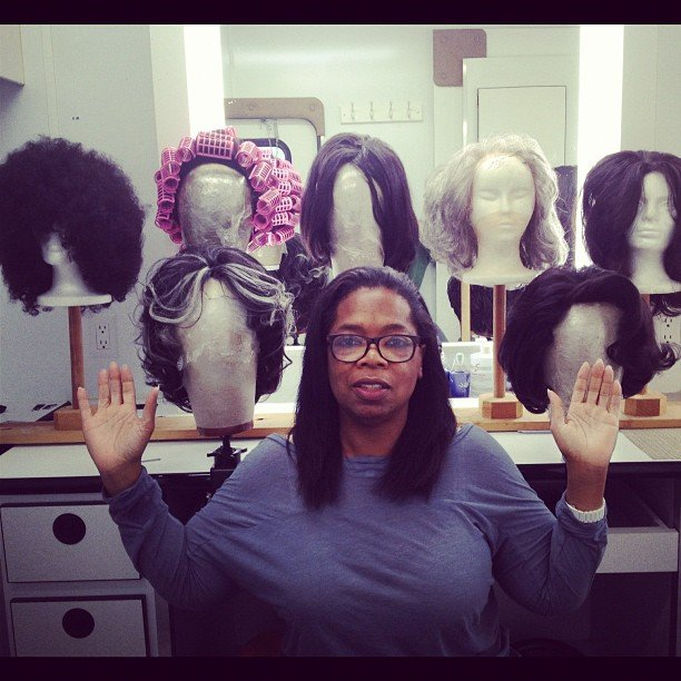 Oprah was surrounded by wigs on the set of The Butler. Source: Instagram user oprahwinfrey