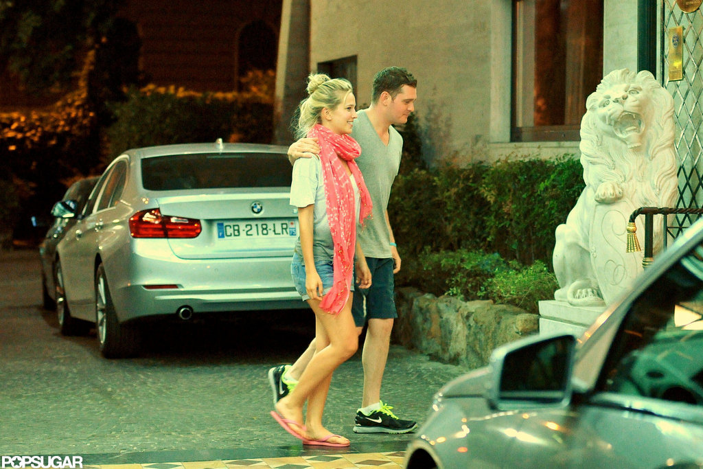 Michael Bublé had his arm around wife Luisana Lopilato after having dinner together in Rome.