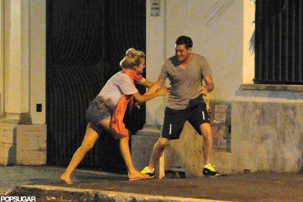 Michael Bublé and wife Luisana Lopilato had fun in the street in Rome.