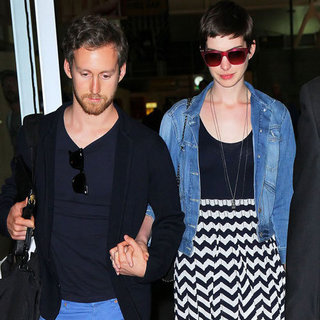 Anne Hathaway and Adam Shulman Travel to NYC | Pictures