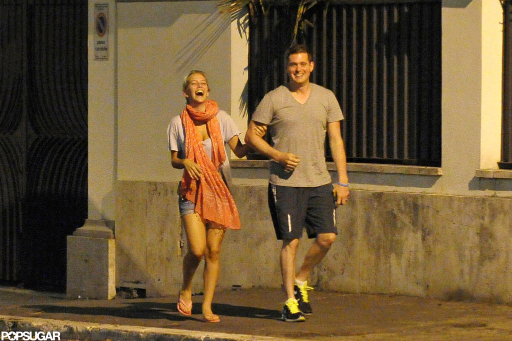 Michael Bublé and wife Luisana Lopilato held hands in Rome.