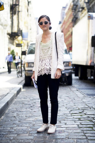 We love the mix of feminine lace and boyish oxfords for a little boy-meets-girl charm. Source: Adam Katz Sinding