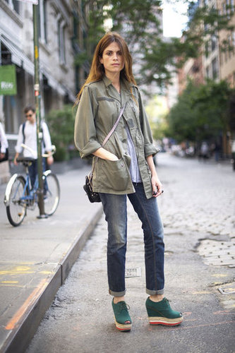 An easy way to rock your transitional wear? Mix the best of both worlds, like an army jacket and your favorite espadrille wedges. Source: Adam Katz Sinding