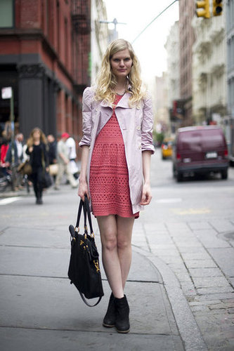 This brightly hued crochet dress is more than just a pretty shade of pink; it's also a cool take on texture. Source: Adam Katz Sinding