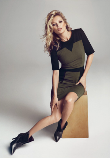 We're loving this form-fitted two-toned sheath, a sexy option for work-to-happy hour dressing.