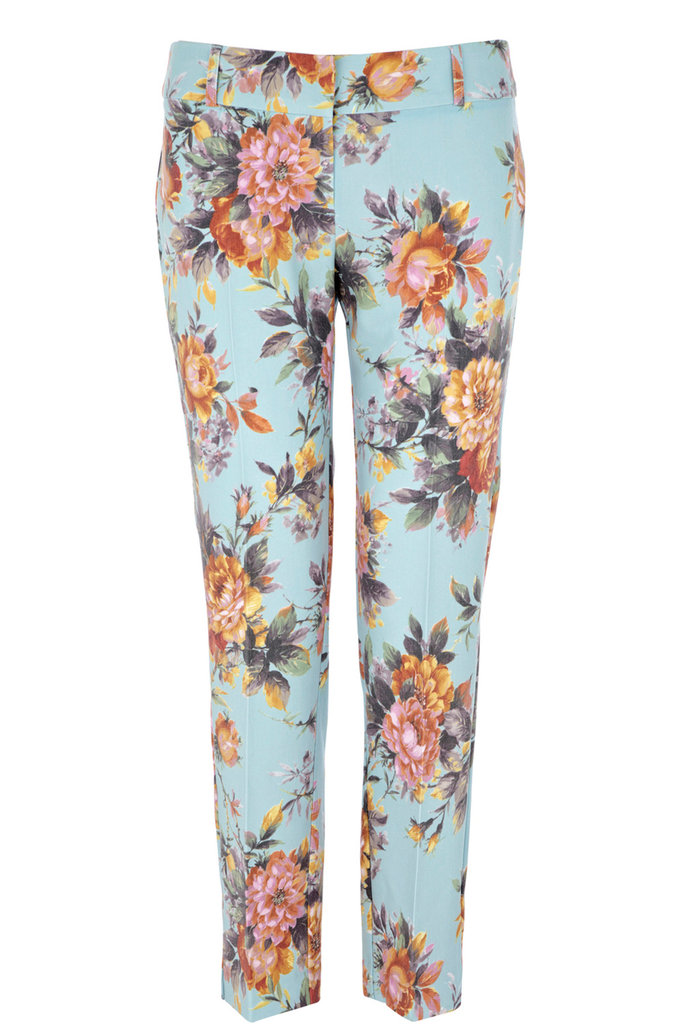Don't be wary of lighter floral patterns in the Fall. Just style them up with a darker complement — a navy-blue button-down with light-brown ankle boots should do the trick. Warehouse Tailored Printed Pants ($80)