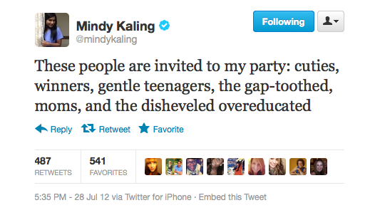 Mindy Kaling got her guest list ready.