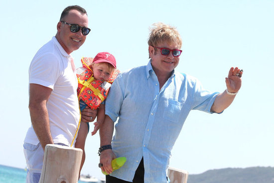 Elton John, David Furnish, and Zachary Furnish-John arrived in Saint-Tropez.
