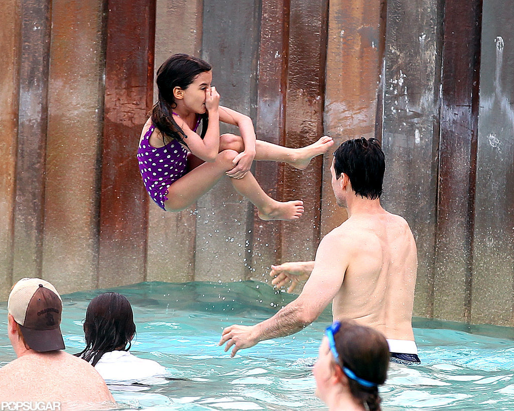 Tom Cruise tossed Suri Cruise at the water park.