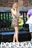 Blake Lively smiled and laughed while shooting Gossip Girl in NYC.