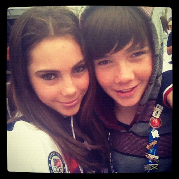 USA gymnast McKayla Maroney snapped a photo in London with her little brother. Source: Instagram user mckaylamaroney