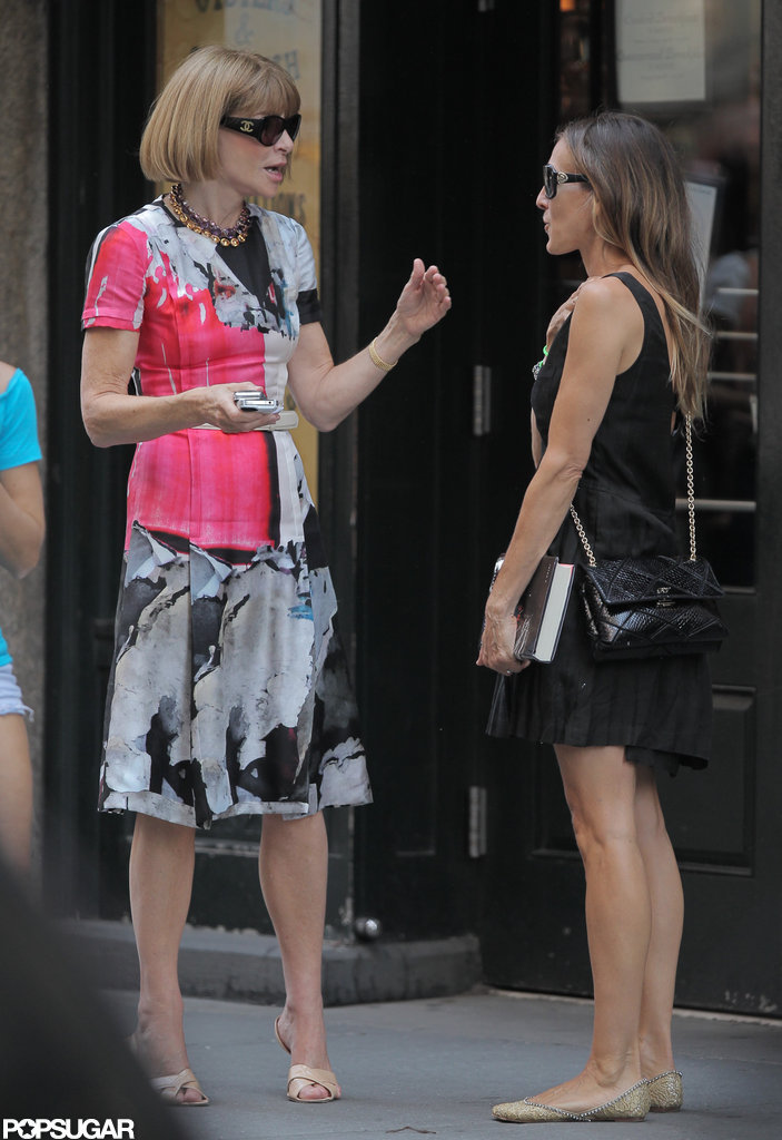 Anna Wintour and Sarah Jessica Parker chatted on the street after leaving lunch in NYC.