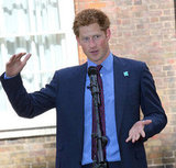Prince Harry looked handsome in a suit and tie at a reception in London.