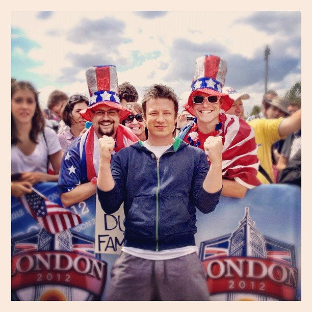 Jamie Oliver hung out with some excited Olympic fans in London. Source: Instagram user jamieoliver