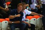 Prince Harry rooted during the diving competition at the Olympics.