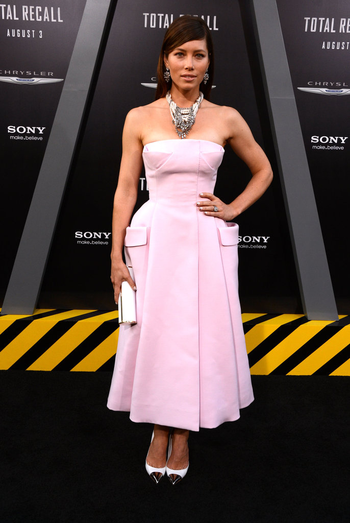 Jessica Biel wore a pink Dior dress for the Total Recall premiere in LA.