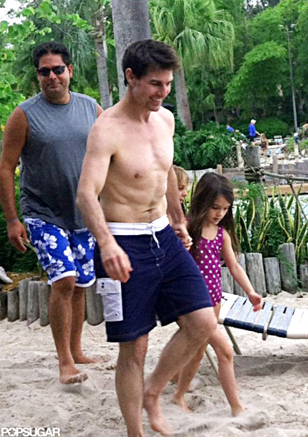 Tom Cruise and Suri Cruise held hands at the water park.