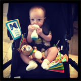 Baby Luca Comrie looked pretty content surrounded by his toys in his Bugaboo stroller. Source: Instagram user hilaryduff