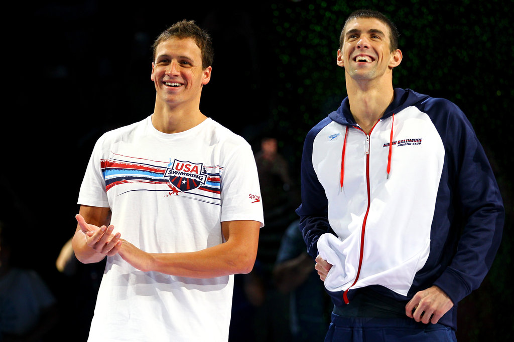 Ryan and Michael laughed together during the medal ceremony for the Olympic trials.