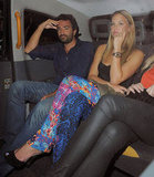 Bar Refaeli cabbed home with some friends.