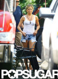 Jennifer Aniston wore a pair of short shorts on the set of We're the Millers.