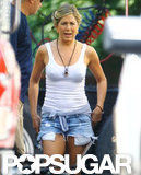 Jennifer Aniston filmed a scene in jean shorts on the set of We're the Millers.