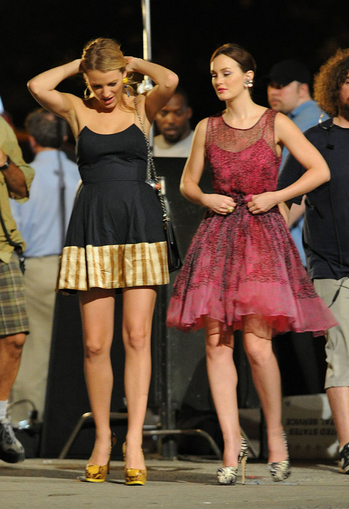 Blake Lively and Leighton Meester relaxed between takes.