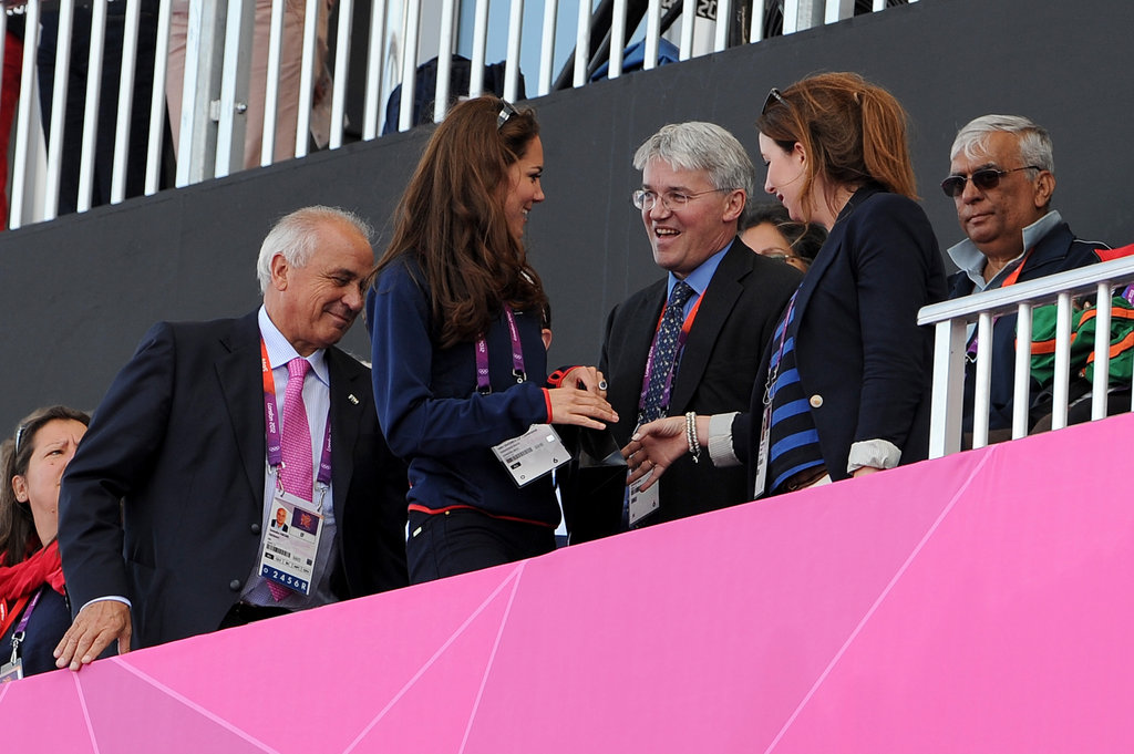 Kate Middleton greeted friends at the Olympics.