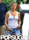 Jennifer Aniston wore a white tank and jean shorts on the set of We're the Millers.