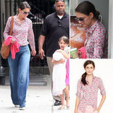 Katie Holmes's blouse is the kind you could wear just about anywhere. Check it out.