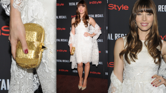 Jessica Biel Goes For White Again at the Total Recall NYC Premiere