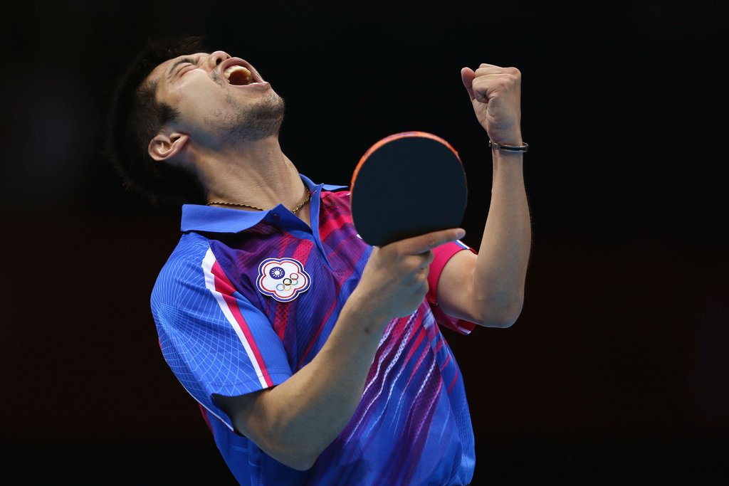 Chih-Yuan Chuang of Chinese Taipei was ecstatic after winning bronze in his table tennis match.