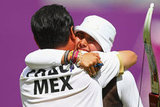 Mexico's Mariana Avitia Martinez celebrated after winning her archery quarterfinal match.