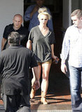 Britney Spears wore cowboy boots and short shorts after her photo shoot in LA.
