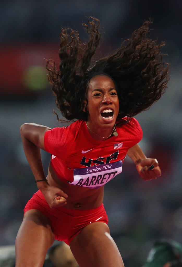 Brigetta Barrett of the United States was happy with her high jump.