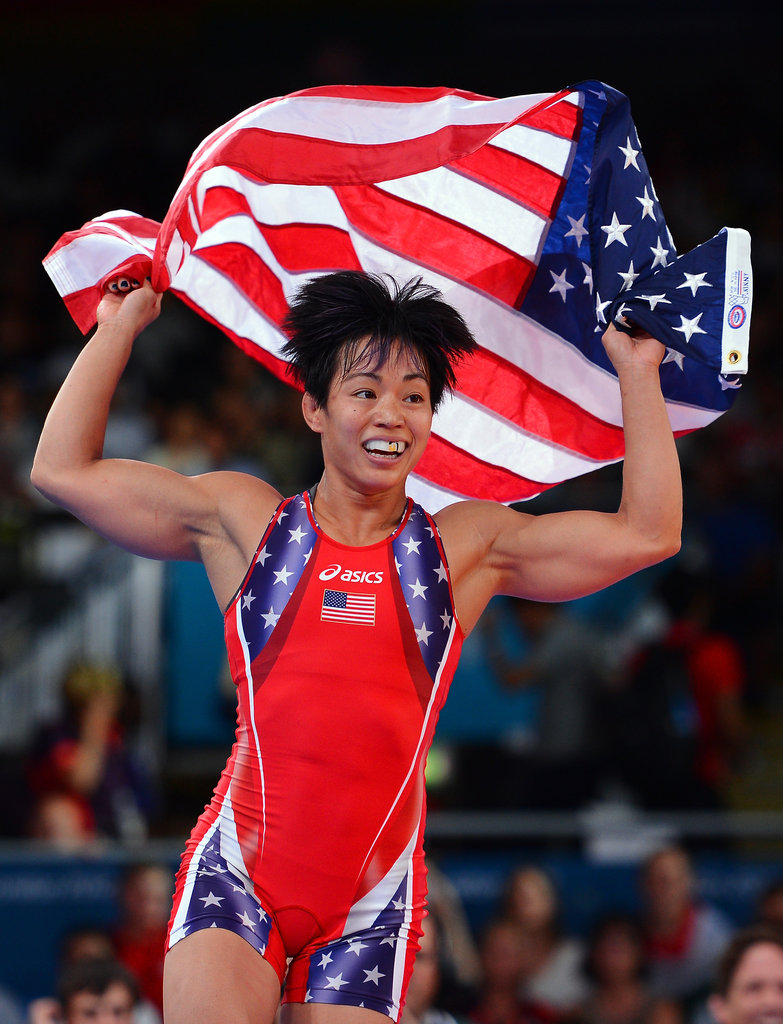 US wrestler Clarissa Kyoko Mei Ling Chun ran with a flag after winning the bronze medal.