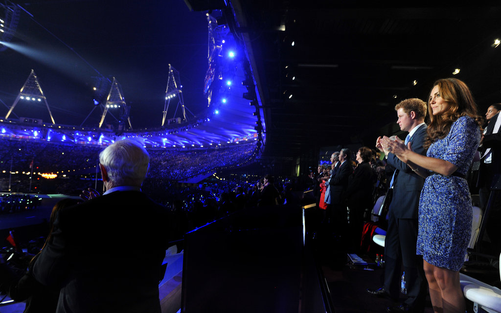 The Duchess of Cambridge and Prince Harry applauded at the end of a successful Olympics in London.