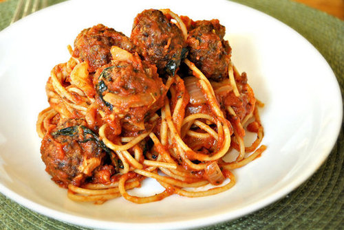 Spaghetti with Spicy Bison Meatballs