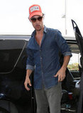 Matthew McConaughey wore a denim shirt at LAX.