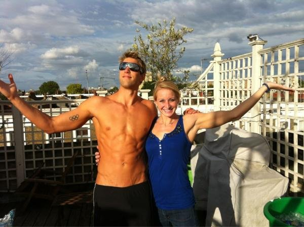 Swimmer Matt Grevers soaked up the sun with his fiancé, Annie Chandler. Source: Twitter user MattGrevers