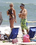 Shirtless Ben Stiller and his wife, Christine Taylor, hit the beach in August 2012 while in Kauai with family and friends.