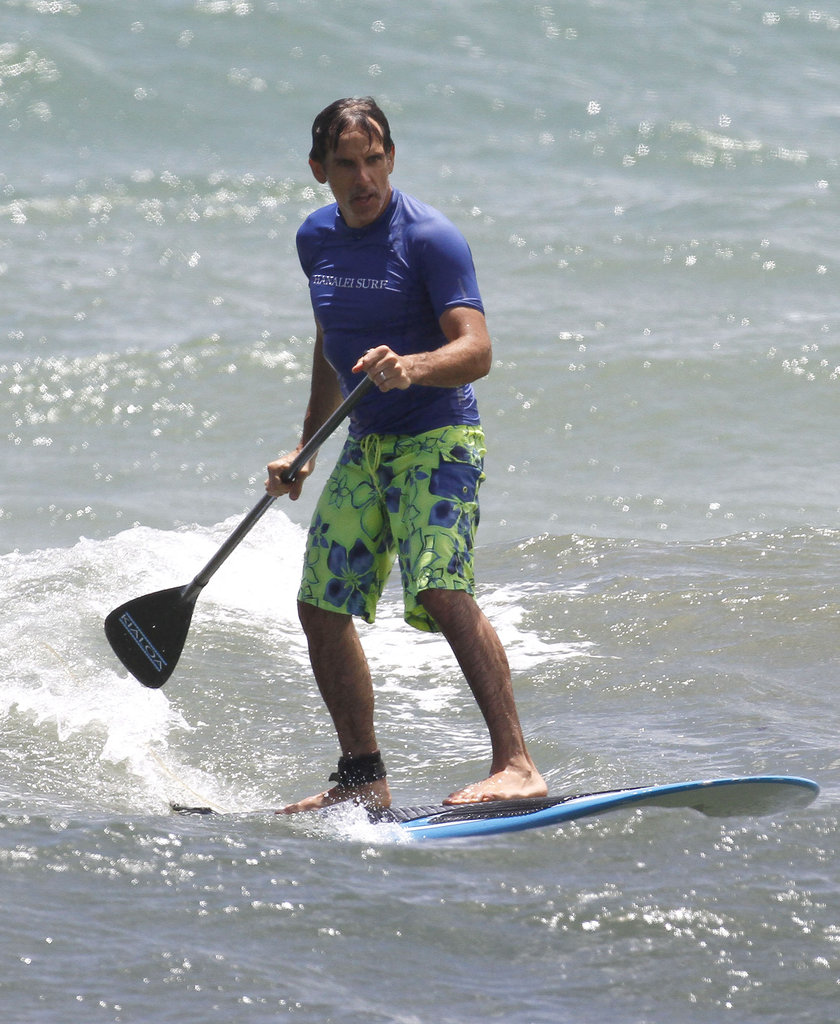 Shirtless Ben Stiller Hits the Beach With Bikini-Clad Christine Taylor