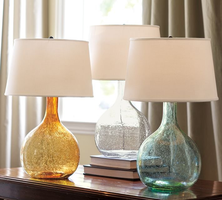 We're eyeing the sea-glass-tones in this table lamp ($99) to add a subtle pop of color to any room.