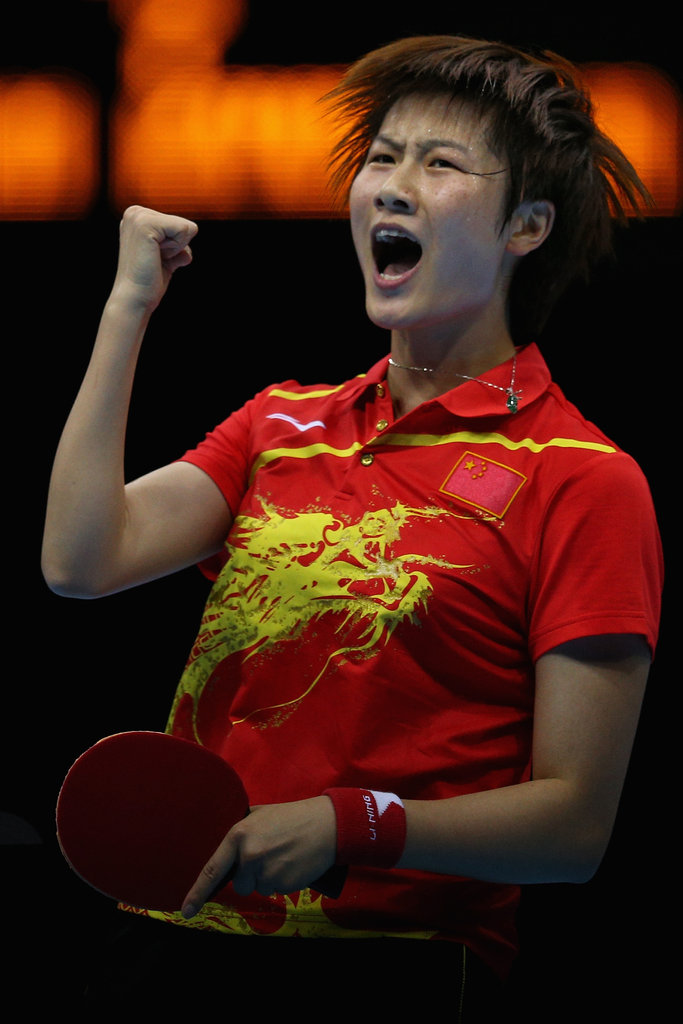 Ding Ning of China was pumped during her table tennis semifinal match.